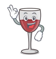 okay wine character cartoon style vector image