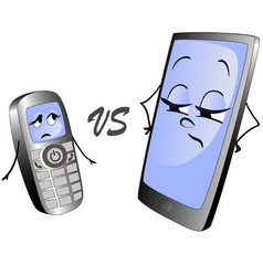 Old push-button phone versus a modern smart phone vector