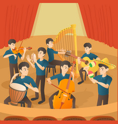 Orchestra musicians figures concept cartoon style vector
