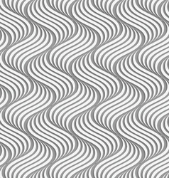 Paper cut out wavy ripples on gray vector image