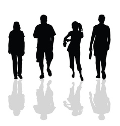 people walking black silhouette vector image