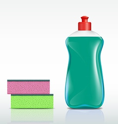 plastic bottle with detergent and sponge vector image