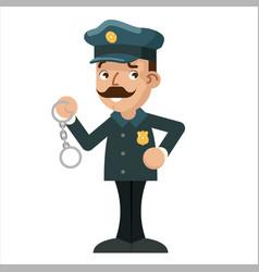 policeman detective handcuffs police cartoon flat vector image