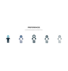Preferences icon in different style two colored vector