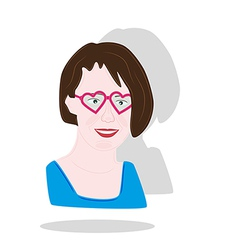 Pretty girl with heart glasses vector