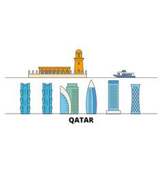 Qatar doha flat landmarks vector