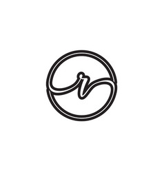 R letter script circle logo design vector