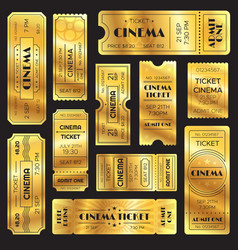 Realistic golden show ticket old premium cinema vector