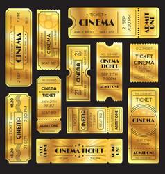 realistic golden show ticket old premium cinema vector image