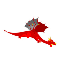 Red dragon flies mythical monster with wings vector