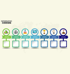 Retro timeline infographic with set of icons vector