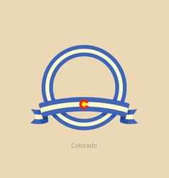 Ribbon and circle with flag of colorado vector