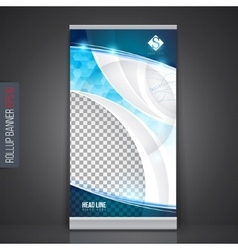 Roll up banner stand template Abstract background vector