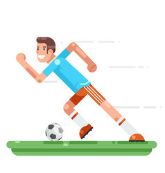 running soccer player football character stadium vector image
