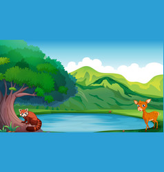 Scene with deer and red panda by the pond vector