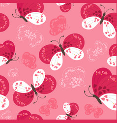 Seamless cute butterflies pattern vector