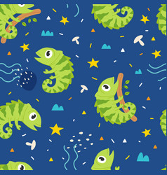 seamless pattern cute iguana vector image