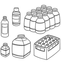 set of bottle vector image