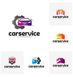set of car service logo car repair logo design vector image