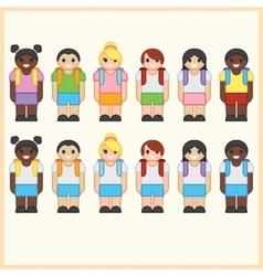 Set of cute cartoon diverse children wearing vector image