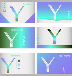 Set of six green and blue business cards vector