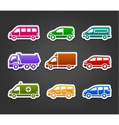set sticky stickers transport color signs vector image