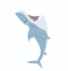 Shark jump open mouth vector