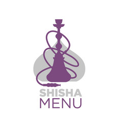 Shisha bar menu logotype with hookah silhouette vector