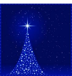 square blue Christmas tree vector image