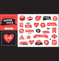 super sale labels hand drawn stickers and tags vector image
