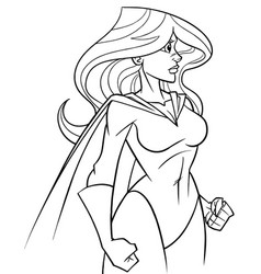 Superheroine side profile line art vector