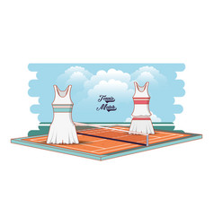 Tennis court game with female clothing vector