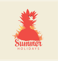 travel summer banner with pineapple and seagull vector image