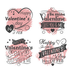 valentines day banners on grunge colorful back vector image
