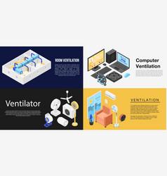 Ventilator banner set isometric style vector