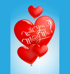 Will you marry me calligraphy on heart balloon vector