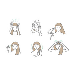 Woman take care about her hair steps how to apply vector