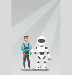 young caucasian man handshaking with robot vector image