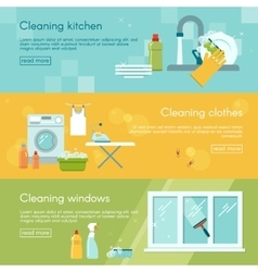 Cleaning Horizontal Banner Set vector image vector image