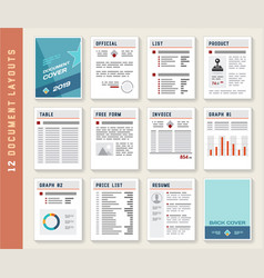 Document Report Layout Templates Set vector image vector image