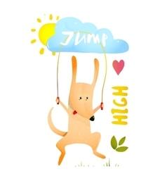 Dog Jumping Rope Kids Cartoon vector image vector image