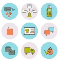 E-commerce line icons set vector image
