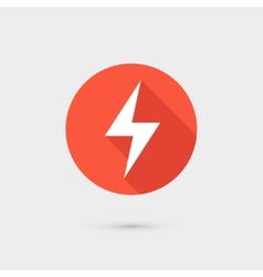 Lightning icon red circle on gray background vector image vector image