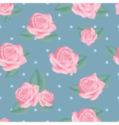 Pink roses with leaves on vintage blue polka dot vector