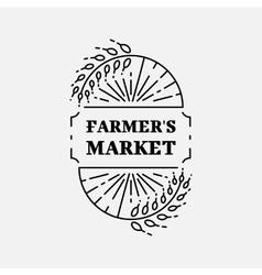 Farmer s Market logo line art icon Wheat field vector image