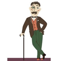 Vintage gentleman with cane vector image