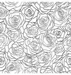 black and white seamless pattern in roses vector image vector image