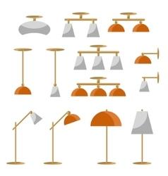 Interior lamp icon set vector image