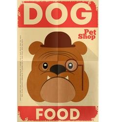 pet shop poster bulldog vector image vector image