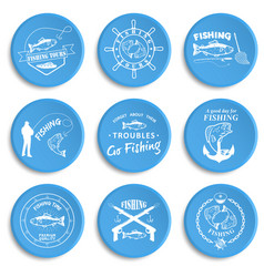 set of vintage fishing labels badges vector image vector image
